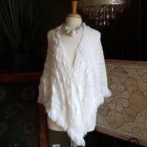 Vintage Crochet Fringe Shawl Wrap Boho Wedding